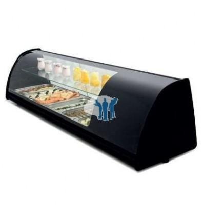 Vitrina refrigerada de tapas doble piso 8 bandejas GN1/3-40 color negro dim.1808x390x360