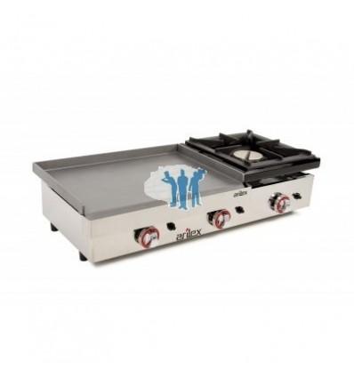 Plancha 600 gas laminada + fogón 6 mm 100x46x24